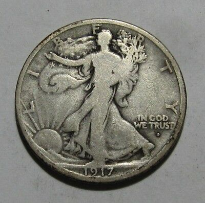 1917 Obverse D Walking Liberty Half Dollar - Good to Very Good Condition - 122SU