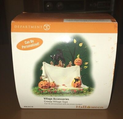 Department 56 Halloween Creepy Village Sign #56.53170 Accessory Excellent Cond