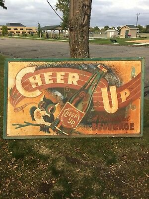 Amazing RARE Vintage Cheer Up Soda Pop Sign Decor Owl Graphics Collectible