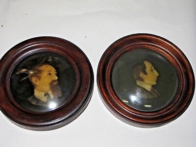 antique framed wax portraits poet Charles Dickens and Snodgrass convex glass