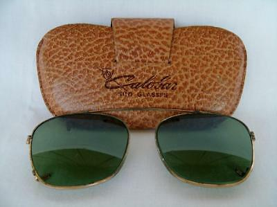 Vintage Calobar green lens aviator style clip-on sunglasses
