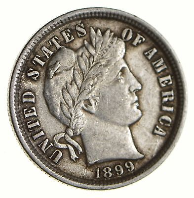 Higher Grade - 1899 Barber Liberty US Silver Dime - Great Detail in LIBERTY *529