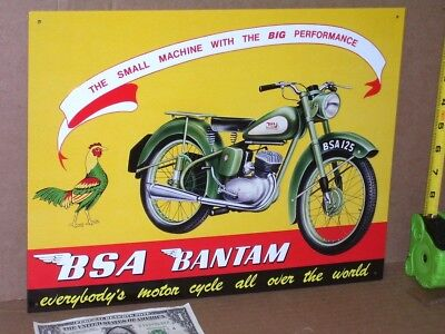 BSA 125 BANTAM Sign -SHOWS DETAIL Old MOTORCYCLE Has a CHICKEN Looking at BIKE ?