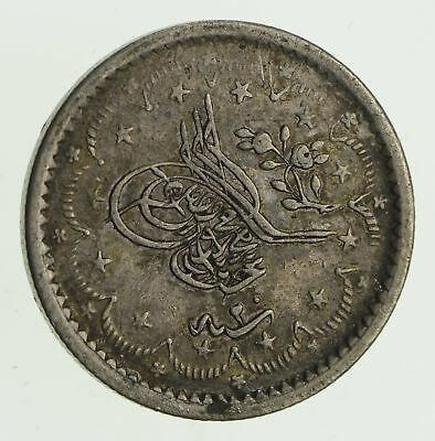 Roughly Size of Quarter 1859 Turkey 5 Kurush - World Silver Coin 6g *031