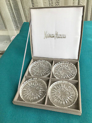 Set of 4 Vintage Neiman Marcus Glass Coasters with Box