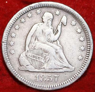 1857 Philadelphia Mint Silver Seated Liberty Quarter
