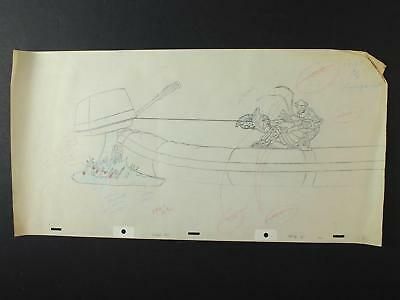 LOT of 15 1990s ANIMATION PRODUCTION ART of LOBSTER OUTBOARD MOTOR MISHAP~