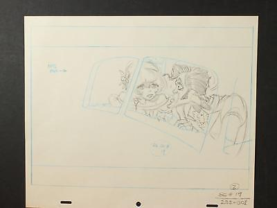 LOT of 13 1990s MISC. ANIMATION PRODUCTION ART of WELL DRESSED MAN & CAR~