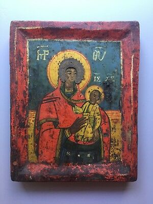 19th C. Antique Greek / Balkan icon The Smolensk Mother of God w/authentication