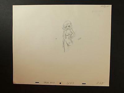 LOT of NINE 1990s MISC. ANIMATION PRODUCTION CELS of LONG HAIRED WOMAN in DRESS~