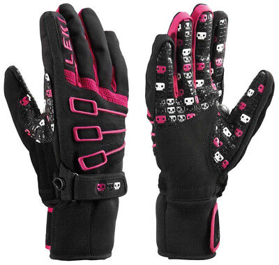 NEW $120 Leki Space Invaders S Insulated Ski Gloves Winter Mens Black Pink White
