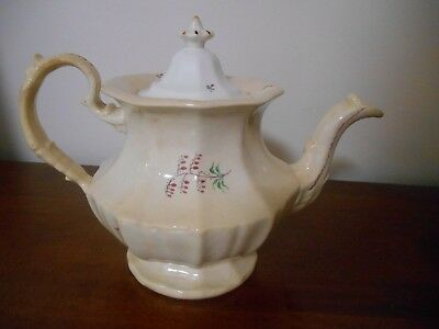 Ceramic Pottery Coffee Pot Red Peppers Transferware Unmarked Victorian Style
