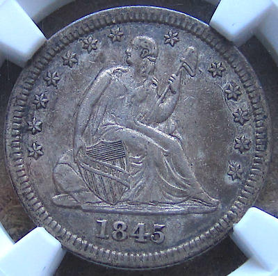 1845 Liberty Seated Quarter, Early Better Date, Attractive Toning, NGC XF45