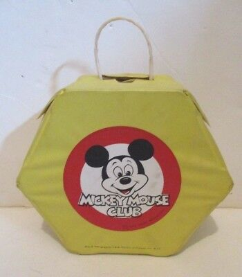 VINTAGE 70's DISNEY MICKEY MOUSE CLUB VINYL OCTAGONAL CARRY CASE TOTE TRAVEL TOY
