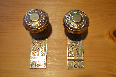Antique Vintage East Lake 1 Set Of Unique Brass Door Knobs & Plates  #63