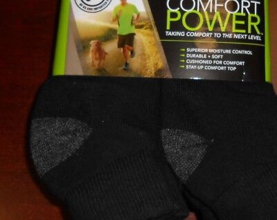 Black BURLINGTON Comfort Men Athletic Socks 5 Pair Quarter Top Thick 77% Cotton