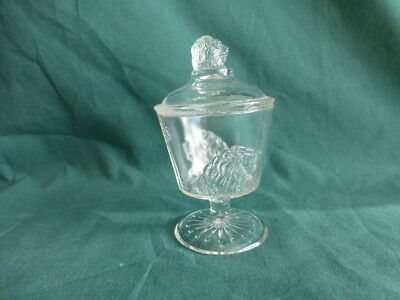 Antique Frosted Lion Early American Pattern Glass Childrens Miniature Sugar Bowl