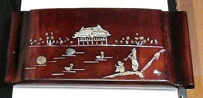 Vintage Chinese Mother Of Pearl Landscape Lacquer Humidor Box