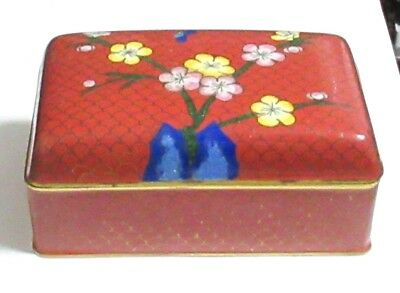 Chinese Cloisonne Red Enamel Humidor Trunk Jar Box