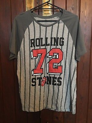 The Rolling Stones 72 Grey Striped T-Shirt Size Large