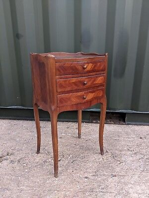 Stunning Antique French Marquetry Inliad Walnut Bedside Cabinet, Chest