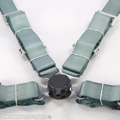 """2"""" Inch 4 Point Quick Release Seat Belt Harness (Silver / Grey) with Brackets"""