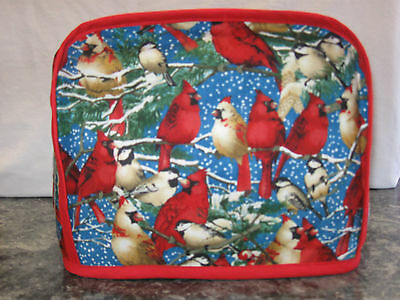Lots of Cardinals Red Birds cotton fabric Handmade 2 slice toaster cover (ONLY)