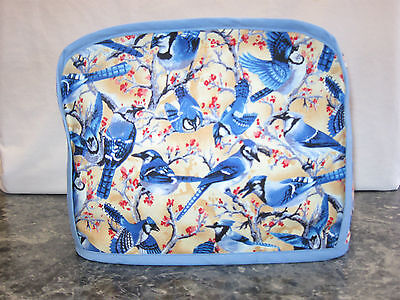 Lots of Blue Jays Birds cotton fabric Handmade 2 slice toaster cover (ONLY)