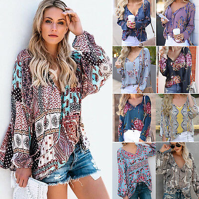 AU Women Boho Floral V-neck Long Sleeve Shirt Ladies Loose Casual Top Blouse Tee