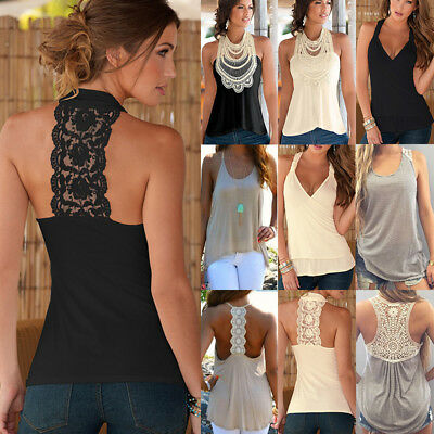 Women Lace Vest Tank Top Summer Sleeveless Backless Cami T-Shirt Loose Blouse AU