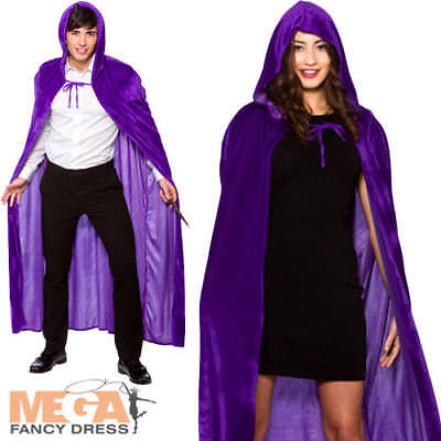 Purple Velvet Hooded Cape Adults Fancy Dress Halloween Wizard Vampire Costume Ac