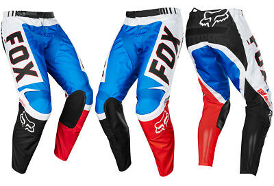 FOX RACING ADULT MOTOCROSS 180 PANTS FIEND SE BLUE / RED quad bike trousers