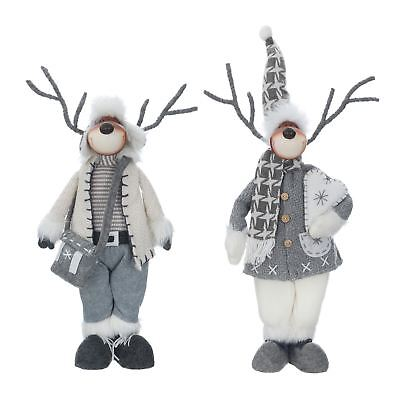 Novelty Standing Reindeer Christmas Xmas Home Decoration Figure Grey 49cm