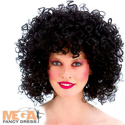 Black Curly 80s Disco Perm Wig Ladies Fancy Dress 1980s Adults Costume Accessory