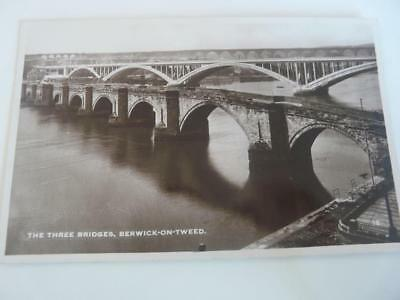 the three bridges berwick  on tweed  vintage postcard scotland