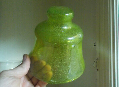 "Crude Pontiled Hand Blown Green Art Glass Bell Dome 5 1/4""Tall Bubbly Glass"