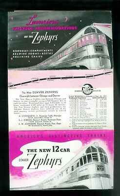 1937 Railroad Brochure New Denver Zephyrs Cars