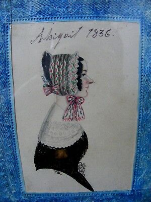 Antique Folk Art Portrait Miniature, Dated 1836