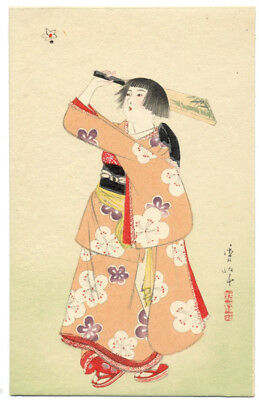 JAPAN Woodblock Postcard GIRL PLAYS Hanetsuki (JAPANESE BADMINTON) ca1920