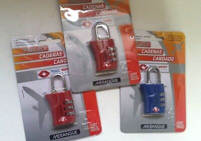 LOT of 3 MERANGUE Travel 3 Digit Combination Padlock Suitcase Luggage BB47/22