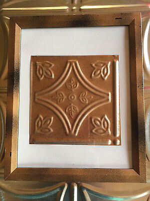 """Tin Ceiling Art Distressed Copper Vintage Look 6"""" X 6"""" Panel Framed 8""""X10"""" #638"""