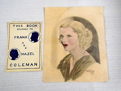 Original Pencil Drawing Art Deco Woman Colored Tinted Signed Dated 1934 Coleman