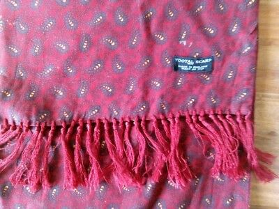 Men's Vintage Tootal Red Paisley Fringed Scarf Mod Scooter