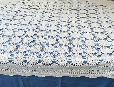 Vintage Cotton Crochet Lace Tablecloth 66 Round