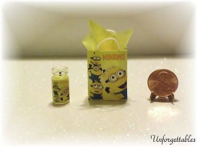 Dollhouse Miniature Gift Bag and Candle Set, ❤Minons❤1:12 Scale by Wendy Howard