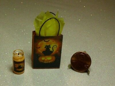 Dollhouse Miniature Gift Bag, Candle Set❤Halloween❤ 1:12 Scale by Wendy Howard