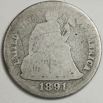 1891-s Seated Liberty Dime.  Circulated.  91101