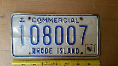 License Plate, Rhode Island, 1988, Commercial, Anchor, Double o7: 108 007