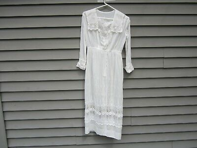 Antique Vintage Wedding Dress Gown Early 1900's Embroidered Roses Voile