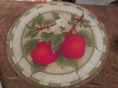 """Peggy Karr Fused Glass 11"""" Plate Apples"""